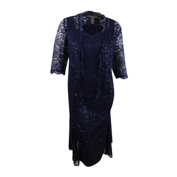 4b734792fa0 Shop R M Richards Women s Plus Size Sequined Lace Dress   Jacket ...