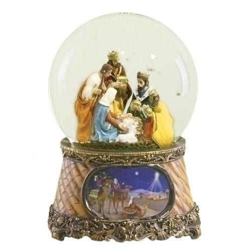 Roman 6 Musical Three Kings Nativity Scene Religious Christmas Snow Globe Glitter Dome Music