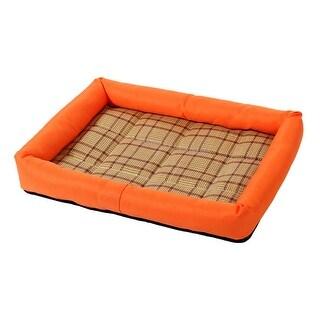Pet Dog Cat Indoor Bamboo Carpet Summer Sleeping Bed Cushion Mat (Orange, M) - Orange