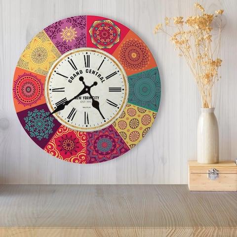 Walplus Colorful Mandala Tiles Wall Clock DIY Art Home Decorations