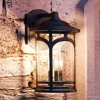 "Luxury Rustic Outdoor Wall Light, 14.5""H x 9""W, with Colonial Style, Wrought Iron Design, Black Silk Finish"