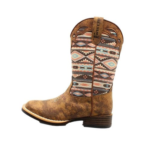 Twister Western Boots Girls Magan Pull On Distressed Multi