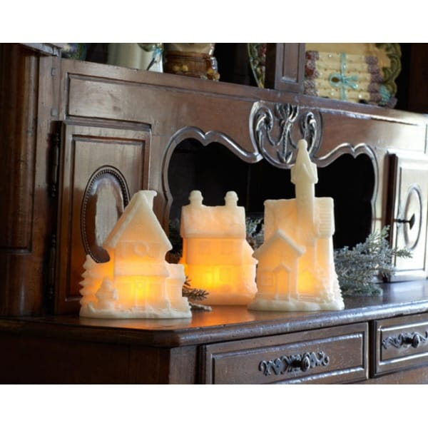 """Set of 3 LED Lighted Glittery Christmas Village Church and Homes 11.5"""" - WHITE"""