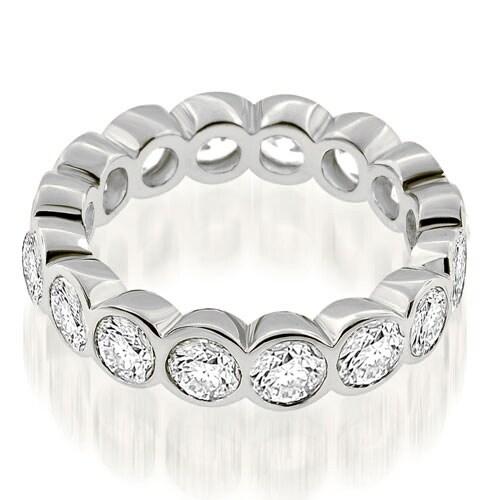 3.20 cttw. 14K White Gold Stylish Bezel Set Round Cut Diamond Eternity Ring