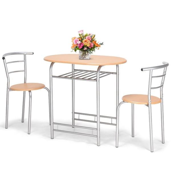 Costway 3 PCS Bistro Dining Set Table and 2 Chairs Kitchen Pub Home Furniture Restaurant - as pic