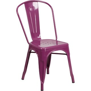 Brimmes Purple Metal Stackable Chair for Patio/Bar/Restaurant