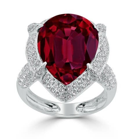 Auriya 15ct Pear-cut Red Ruby and Halo Diamond Ring 1cttw 18K Gold