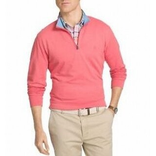 IZOD NEW Pink Mens Size Medium M Solid Stretch Henley Pullover Sweater