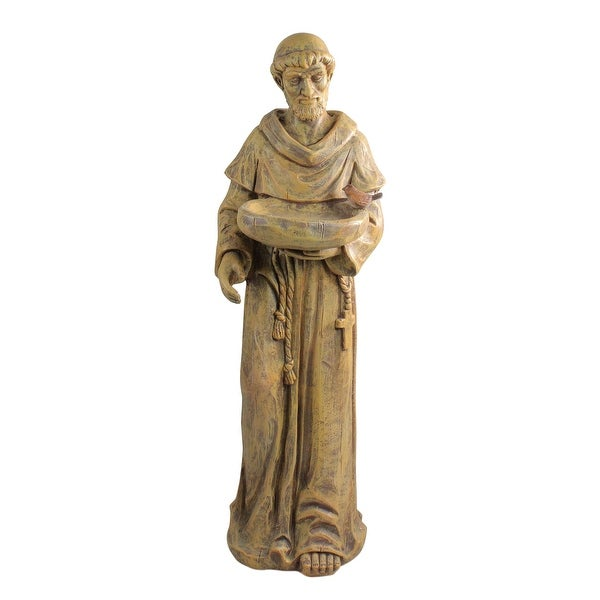 "35.5"" Religious St. Francis of Assisi Bird Feeder Outdoor Garden Statue - N/A"