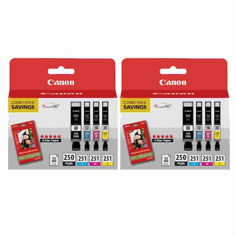 Canon PGI250/CLI251 Ink & Paper Combo Pack BCMY (2-Pack) Ink Cartridge Combo Pack