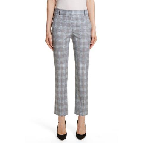 Theory Women's Pants Blue Gray Size 4 Dress Plaid Trouser Career Wool