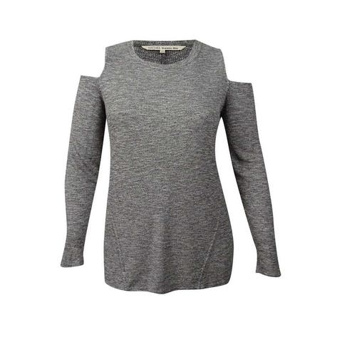 RACHEL Rachel Roy Women's Trendy Plus Size Ribbed Cold-Shoulder Top