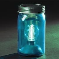"6.5"" Battery Operated LED Edison Bulb Vintage-Style Aqua Blue Glass Mason Jar Lantern"