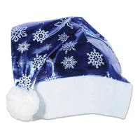 Pack of 12 Metallic Blue with White Trim and Snowflakes Christmas Santa Hat