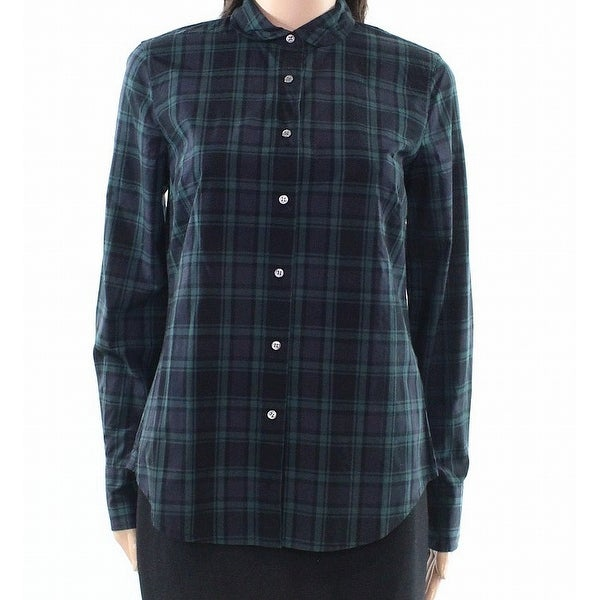 78c13edb Shop J. Crew Blue Womens Size 6 Plaid-Flannel Collared Button Down Shirt -  Free Shipping On Orders Over $45 - Overstock - 22048361