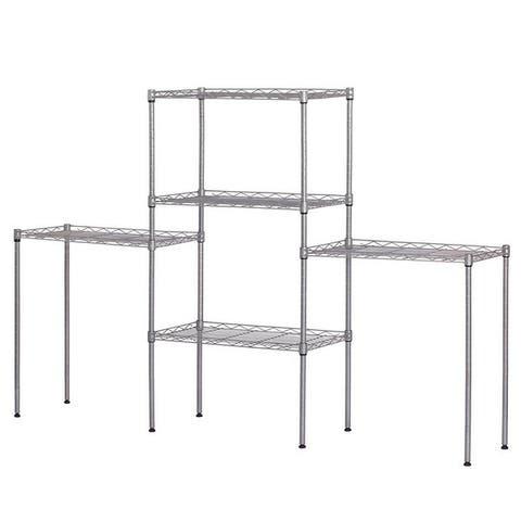 5 Tier Height Adjustable Storage Shelves Metal Wire Shelving