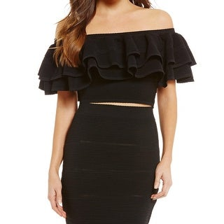 Keepsake Black Women's Size XS Ruffled Off-Shoulder Crop Top