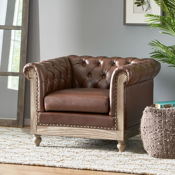 """Castalia Chesterfield Tufted Club Chair with Nailhead Trim by Christopher Knight Home - 39.00"""" L x 33.50"""" W x 28.00"""" H. Opens flyout."""