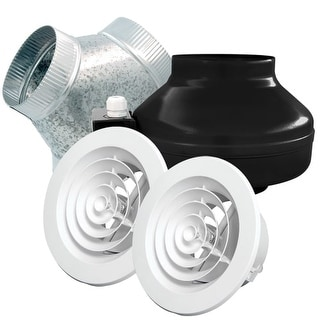 Air King ILK26 240 CFM Ceiling Mounted In-Line Exhaust Fan Kit with Double Inlet
