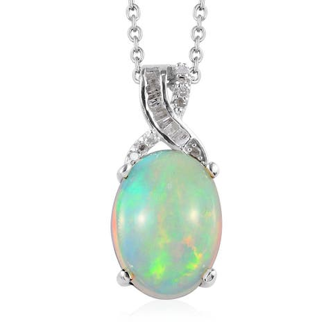 """925 Silver Welo Opal Diamond Pendant Necklace 20"""" H-I Color I3 ct 3.9 - Necklace 20''"""