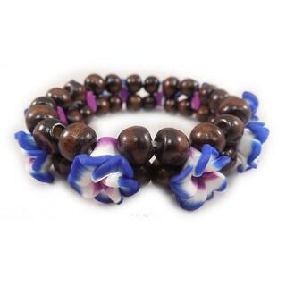 Charming Shark Womens Flower Bead with Blue Stretch Bracelet Elastic Purple