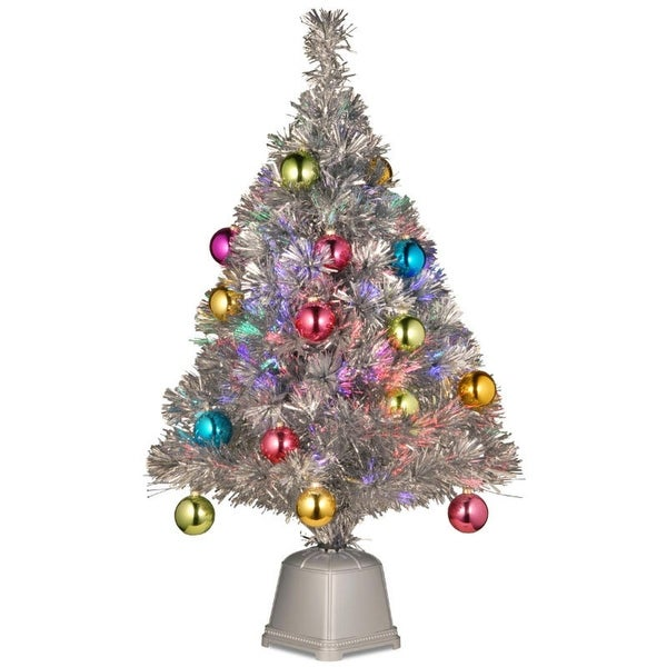 """32"""" Pre-lit Silver Tinsel Fiber Optic Artificial Christmas Tree with Ball Ornaments - Multi Lights"""