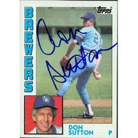 Signed Sutton Don Milwaukee Brewers 1984 Topps Baseball Card autographed