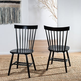 "Link to Safavieh Country Classic Dining Country Lifestyle Spindle Back Black Dining Chairs (Set of 2) - 20.5"" x 21"" x 36"" Similar Items in Dining Room & Bar Furniture"