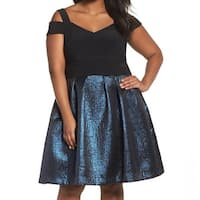 Xscape Black Blue Women's Size 16W Plus Shimmer A-Line Dress