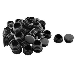 Unique Bargains Plastic Round Ribbed Tube Inserts End Blanking Caps Black 32mm Diameter 50 Pcs