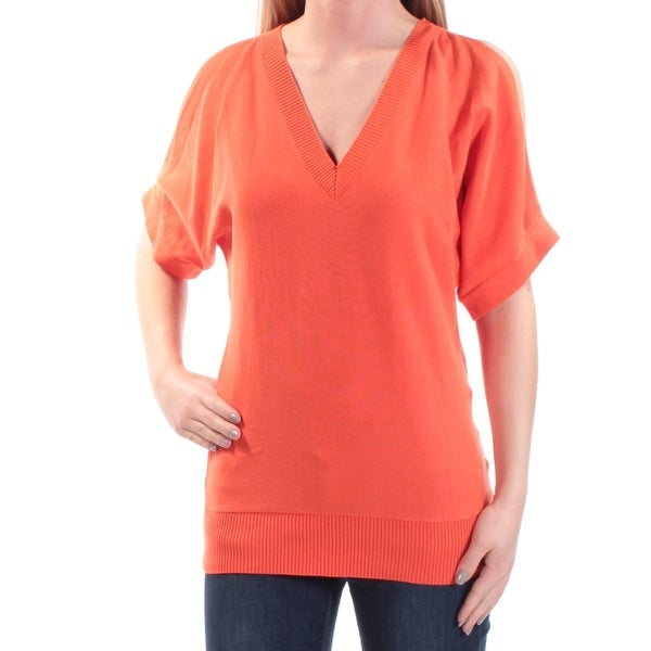 96c22aaaf00b Shop MICHAEL KORS Womens Orange Cut Out Dolman Sleeve V Neck Top Size: XS -  On Sale - Free Shipping On Orders Over $45 - Overstock - 21315257