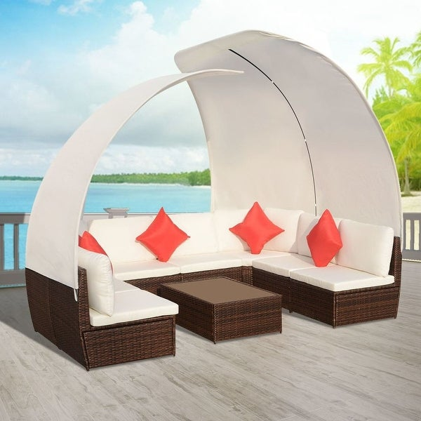 Great Vidaxl Outdoor Lounge Set With Canopies Poly Rattan Brown With  Polyrattan Lounge Set