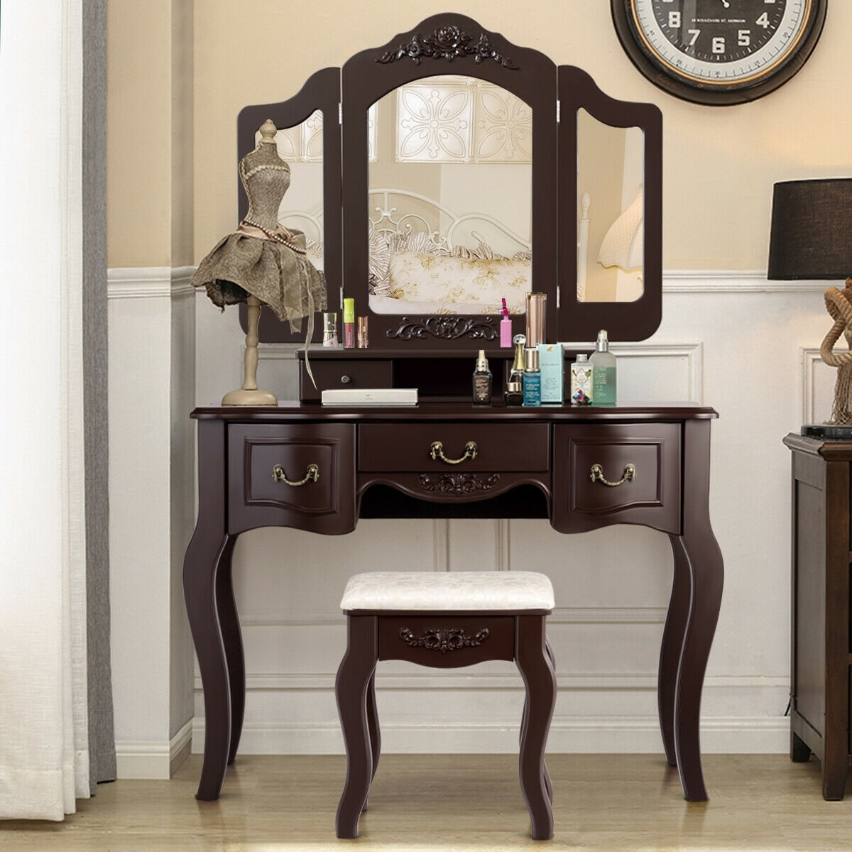 best cheap dd867 99461 Gymax Bathroom Makeup Vanity Dressing Table Set With Stool Tri-folding  Brown 5 Drawers