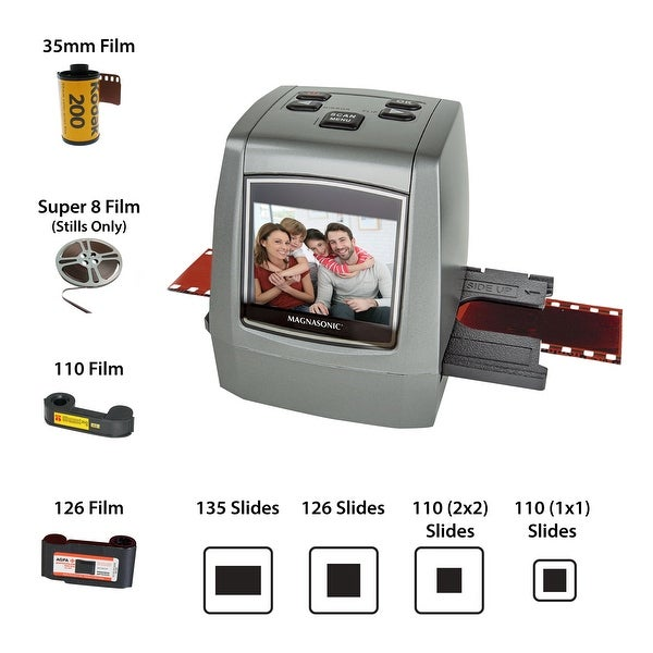 """Magnasonic All-In-One High Resolution 22MP Film Scanner, Converts Film, Slides and Negatives, Vibrant 2.4"""" LCD Screen"""