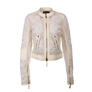Roberto Cavalli Womens Ivory Leather Lace Floral Jacket