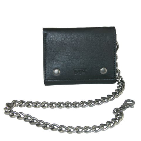 b0b17ae34ce Levis Men s Leather Trifold Chain Wallet - one size