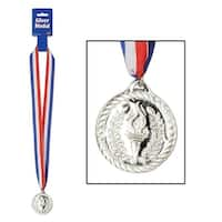 """Club Pack of 12 Red, White and Blue Ribbon Necklace with Silver Medal 30"""""""