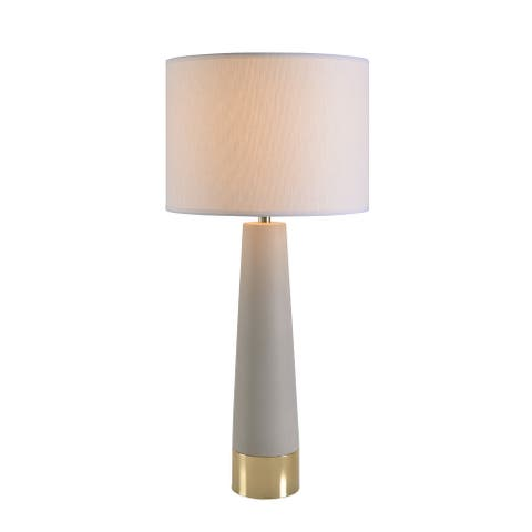 Bruce Concrete and Antique Brass 30 Inch Table Lamp