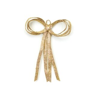 """12"""" Christmas Brites Glitter Drenched Gold Bow Decoration"""