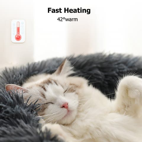 "27"" Pet Dog Cat Calming Bed Warm Soft Plush Round Navy - 27""-Navy"