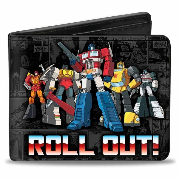 Transformers 5 Autobots Roll Out + Autobot Logo Comic Panels Grays Bi Fold Bi-Fold Wallet - One Size Fits most