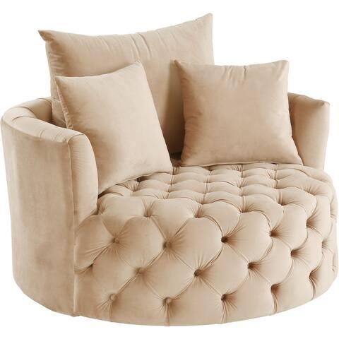 ACME Zunyas Accent Chair with Swivel in Beige Velvet