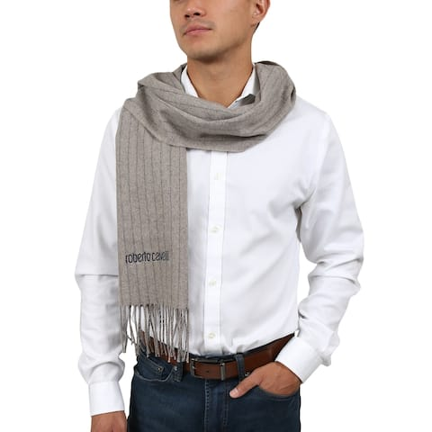 Roberto Cavalli ESZ066 00508 Taupe Pure Wool Brushed Pinstripe Mens Scarf - 30-180