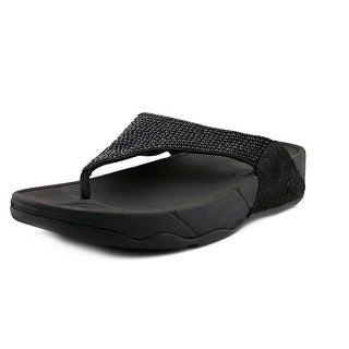 FitFlop Rokkit Women Open Toe Canvas Black Wedge Sandal