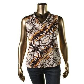 Tahari Womens Rob Jersey Printed Blouse