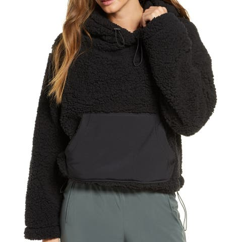 Zella Women Sweatshirt Black Size Large L Fuzzy Kangaroo Pocket Hoodie