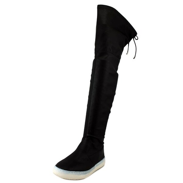 LFL Rave Women Round Toe Leather Black Over the Knee Boot