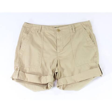 Lauren by Ralph Lauren Women's Shorts Beige Size 14 Cargo Cuffed-Hem