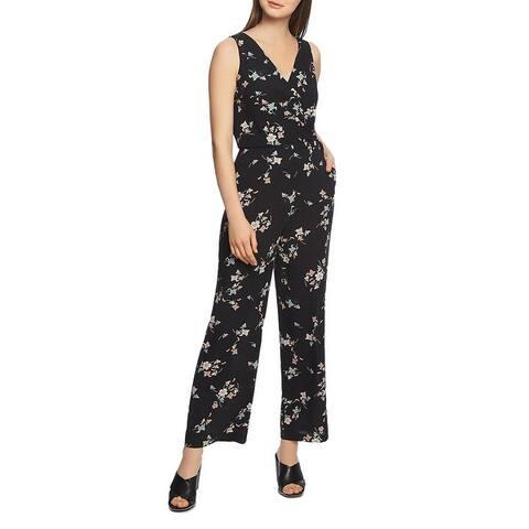 1.State Womens Jumpsuit Wrap Floral - Black Blush