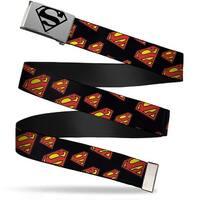 Superman Brushed Silver Black  Cam Super Shield Diagonal Black Red Web Belt
